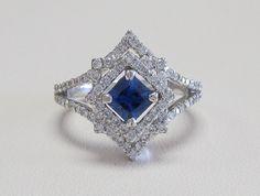 18k white gold princess cut blue sapphire and diamond ring!