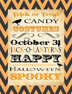 The Project Spot: Halloween Chevron Subway Art Printable