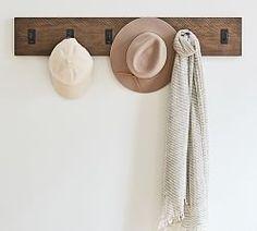 "Duncan Bronze 6-Hook 30"" Shelf | Pottery Barn Free Interior Design, Interior Design Services, Drying Rack Laundry, Hallway Furniture, Furniture Ideas, Small Space Solutions, Hook Rack, Mirror Art, Pottery Barn Kids"