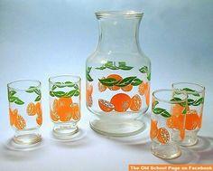 Anchor Hocking Orange Juice Pitcher and Glasses