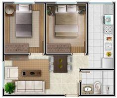 Planta de um Apartamento Pequeno Decorado