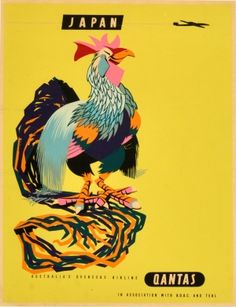 Japan Qantas Rooster Harry Rogers, 1960s - original vintage poster by Harry Rogers listed on AntikBar.co.uk