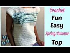Easy crochet for beginners. Free crochet pattern and video for this easy, lightweight crochet summer top. Learn the fun front post double crochet. Crochet Summer Tops, Easy Crochet, Free Crochet, Crochet Top, Crochet Hook Sizes, Crochet Hooks, Front Post Double Crochet, Crochet For Beginners, Knitting Stitches