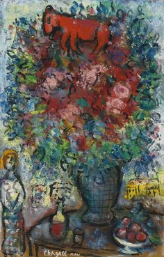 Bouquet and Red Ass - Marc Chagall Marc Chagall, Joan Miro Paintings, Chagall Paintings, Oil Paintings, Landscape Paintings, Acrylic Painting Lessons, Oil Painting Abstract, Painting Art, Watercolor Painting