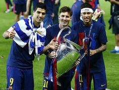 The unstoppable attacking trio of Luis Suarez, Messi and Neymar took their combined tally to a staggering 122 goals this season