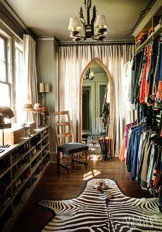 The best part is the zebra rug. I want a zebra rug. Dressing Room Closet, Closet Bedroom, Closet Space, Closet Mirror, Master Closet, Spare Room Walk In Closet, Hallway Closet, Master Bedroom, Home Goods Decor