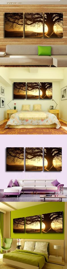 3 Panel Modern Printed Tree Painting Picture Cuadros Sunset Canvas Painting Wall Art Home Decor For Living Room No Frame PR157 $16.99