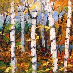 Birch Tree Painting - Birches 03 by Richard T Pranke