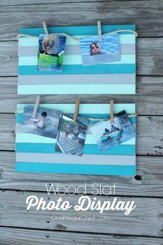 DIY Wood Slat Photo Display | TodaysCreativeBlog.net - Very Beachy