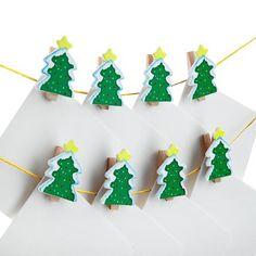 12 piece Wooden Christmas Tree Card Holder | Poundland