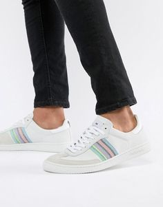477a24cc4bf5e9 PS Paul Smith Yuki suede sneaker with stripe detail in off white