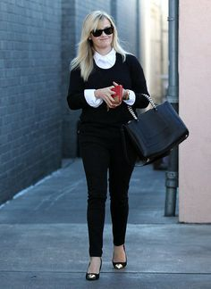 Reese Witherspoon Wearing Black and White in LA