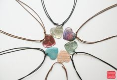 Heart Pendant Necklace Resin Heart Necklace by petiteutile on Etsy