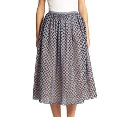 Michael Kors Gingham Perforated A-Line Skirt (4.940 NOK) ❤ liked on Polyvore