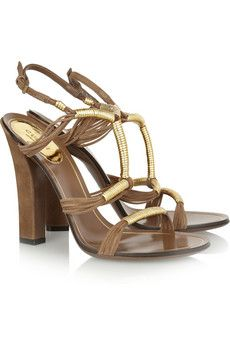 Gucci Metallic leather and suede sandals | NET-A-PORTER