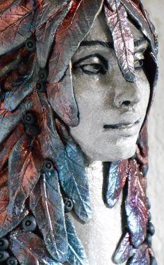 """Raku """"Deep Woods Repose"""" Vase by Leslie Ahrens"""