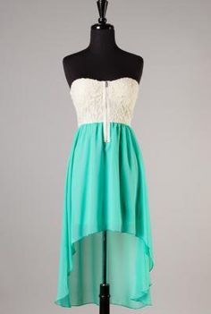 Summer Memories Lace Strapless Sweetheart High Low Dress in Seafoam   Sincerely Sweet Boutique