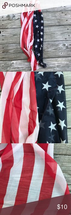 American Flag Chiffon Scarf New, American flag chiffon scarf. Never worn, tags are missing. Accessories Scarves & Wraps