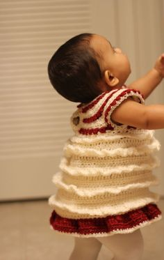 Crochet Ruffle Dress For Newborn to Toddler Size by dewdropsdesign, $35.00