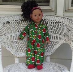 18 Inch Doll Clothes Green Grinch Flannel by DollFashionsbyAlthea