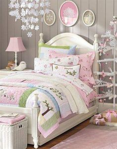 Start with a 'greige' paint on the walls and then add lots of pastel accessories for a very feminine room - this would be terrific for a tween or teen, or maybe even a guest room.