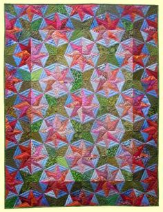"""Blustery Day, designed by Judy Martin, made by Lies Bos-Varkevisser --- 2013 --- 125 x 167 cm / 49""""x66"""" Lovely colors!"""