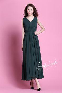 8ec857aa916 110 Colors Chiffon Dark Green Long Party Dress Evening Wedding Sundress  Maternity Dress Summer Beach Dress Bridesmaid Dress Maxi Skirt