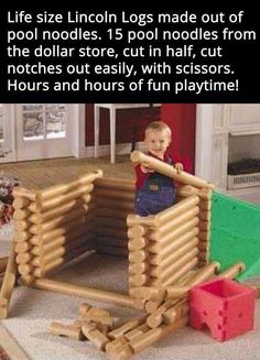 Lincoln logs made from pool noodles. Lincoln logs made from pool noodles. Kids Crafts, Projects For Kids, Diy For Kids, Diy And Crafts, Diy Projects, Easy Crafts, Summer Crafts, Kids Fun, Lincoln Logs