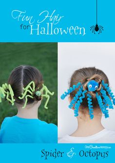 Perfect for Crazy Hair Day or Halloween, check out these adorable Spider and Octopus Hair Tutorials {OneCreativeMommy.com}