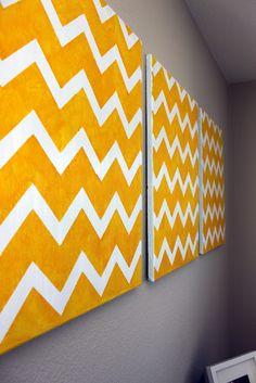 Momma Rake: DIY Chevron Wall Art.  Paint three panels of abstract art.