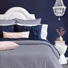 Navy Bedding from Crane & Canopy. Our collection of designer navy bedding features the highest-quality cotton, woven in a silky soft weave. Navy Blue Rooms, Blue And Pink Bedroom, Blush Bedroom, Blue Master Bedroom, Pink Bedrooms, Bedding Master Bedroom, Dream Bedroom, Guest Bedrooms, Master Bedrooms