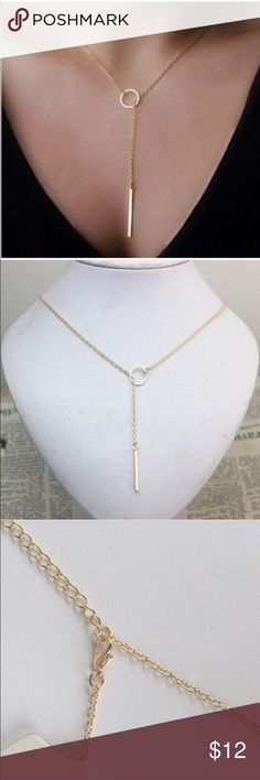 • Hoop & Bar Necklace • Brand new in package  Metal with gold color. Jewelry Necklaces