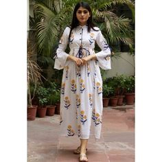 Discover Latest & Trendy Clothing & Accessories like White Base Yellow Butta Dress online in Best Price! Pakistani Dresses Casual, Indian Gowns Dresses, Indian Fashion Dresses, Indian Designer Outfits, Muslim Fashion, Shrug For Dresses, Sleeves Designs For Dresses, Stylish Dresses For Girls, Stylish Dress Designs