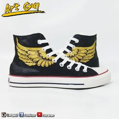 30049a68cdc1 Items similar to converse hand painted wings Custom golden angel shoes one  of a kind canvas ArtGuy on Etsy