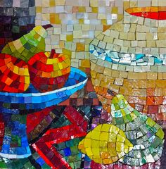 Still Life, Smalti Mosaic - Mexican Smalti on Marmox by Caitlin Hughes 2012 Mosaic Tile Art, Mosaic Artwork, Mosaic Crafts, Mosaic Projects, Mosaic Glass, Glass Art, Art Projects, Mosaic Ideas, Stained Glass