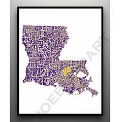 LSU - Typography Map Art Print - Customized Louisiana Map Art Print. $20.00, via Etsy.
