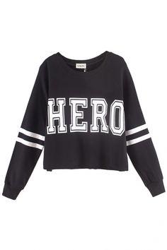 HERO&Stripe; Print Crop Sweatshirt - Beautifulhalo.com