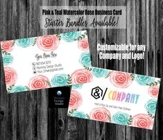 Pink and Teal Watercolor Roses Business Card -Bundle Kits- Buy 10 Reward Punch Cards - Thank Care Cards Lularoe Business Cards, Printing Services, Online Printing, Lipsense Business Cards, Elegant Business Cards, Name Logo, Standard Business Card Size, Watercolor Rose, Company Names