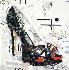 Zapato arte, collage de papel para formar este precioso zapato de tacón.