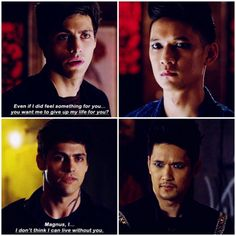 """#Shadowhunters 2x20 """"Beside Still Water"""" - """"Alec fell hard and fast. He went from the boy who desperately repressed any kind of feeling to openly admitting his feelings and not being able to live without Magnus in his life."""" - #AlecLightwood #MagnusBane"""