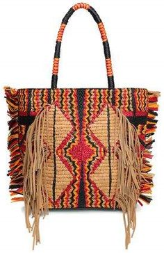 Shop on-sale ANTIK BATIK Hedia fringed cotton, leather and raffia tote. Browse other discount designer Totes & more on The Most Fashionable Fashion Outlet, THE OUTNET. Holiday Outfits, Holiday Clothes, Designer Totes, Tribal Fashion, Fashion Outlet, Canvas Leather, Discount Designer, Wool Blend, Straw Bag