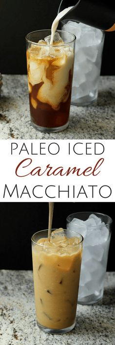 This Skinny Iced Caramel Macchiato Recipe is creamy and naturally sweetened! Learn my EASY method for how to make an iced caramel macchiato at home in 2 minutes! Yummy Drinks, Healthy Drinks, Yummy Food, Paleo Recipes, Real Food Recipes, Cooking Recipes, Paleo Sweets, Paleo Dessert, Iced Caramel Macchiato Recipe