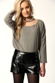 Diana PVC Metallic Shorts with Stud Trim    www.boohoo.com