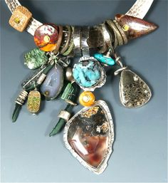 "Allison Bellows Jewelry  ""Sterling Silver, Nevada Black Rock Thunder Egg, Drusy Chrysocolla, Dinosaur Bone, Baby Geode, Tourmaline, Turquoise, Ammonite, Herkimer Diamond, Favosite Coral, Mookaite Jasper, Ancient Celtic Money Rings"""