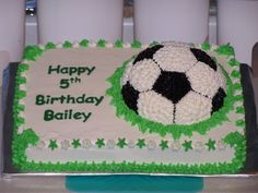 Bailey's Soccer Ball Cake - This was for a friend from work for her son's 5th birthday and he's a soccer player. It's a 9*13 with a half ball pan cake. Buttercream icing with chocolate transfer for the words [it's just so much easier for me..]  Thanks! This was mostly fun--except for trying to get black icing!