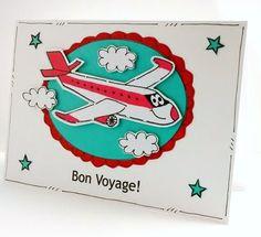 Bon Voyage Card  Personalised  Airplane  by CraftyMushroomCards