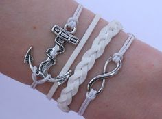 Antique Silver Bracelet, White Bracelet, Anchor Bracelet, Infinity Bracelet