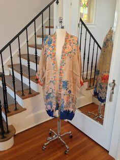 Vintage 1920s Silk Robe Dressing Gown Lingerie / Art Deco Downton Abbey Gatsby Flapper / Asian Chrysanthemum Pattern. $295.00, via Etsy.