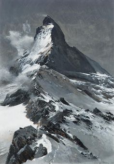 Edward Theodore Compton (British, The Matterhorn x 24 cm. Mountain Drawing, Mountain Art, Mountain Landscape, Fantasy Landscape, Landscape Art, Landscape Paintings, Zermatt, Mountain Paintings, Oil Painting Abstract