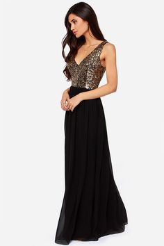 98c59516c4f Exclusive Maximum Shine Black and Gold Sequin Maxi Dress